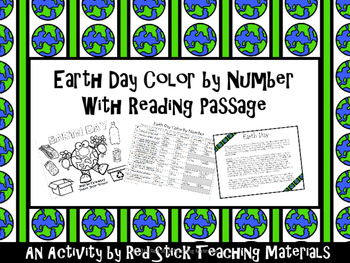 Earth Day Color By Number with Reading--NO PREP!