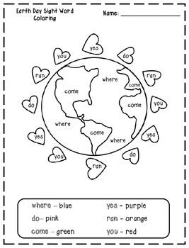 Earth Day Color By Sight Words Printables