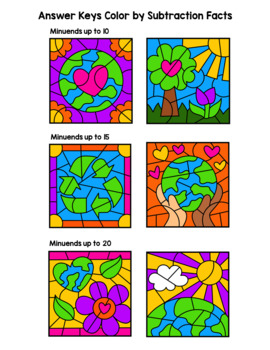 Earth Day Color By Subtraction Facts: Minuends up to 10, 15, & 20