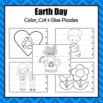 Earth Day Color, Cut and Glue Puzzles
