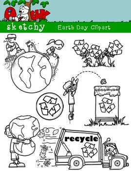 Earth Day Color, Gray Scale, Black Lined 300dpi Transparent Background