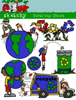 Earth Day Color, Gray Scale, Black Lined 300dpi Transparen