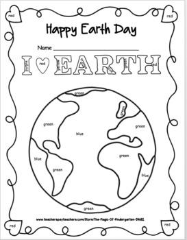 Earth Day Color Word Fun