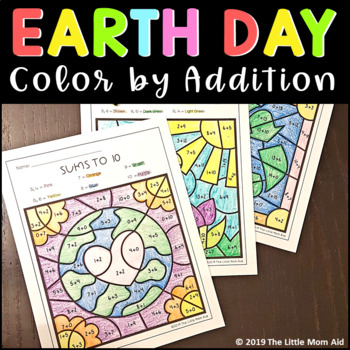 Earth Day Color by Addition (Sums to 10, 15, 20)