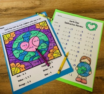 Earth Day Color by Addition and Subtraction with Numbers to 20!