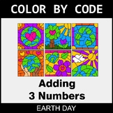 Earth Day Color by Code - Adding 3 Numbers