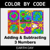 Earth Day Color by Code - Adding & Subtracting 3 Numbers