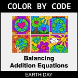 Earth Day Color by Code - Balancing Addition Equations