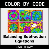Earth Day Color by Code - Balancing Subtraction Equations