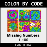 Earth Day Color by Code - Find the Missing Numbers (1-100)