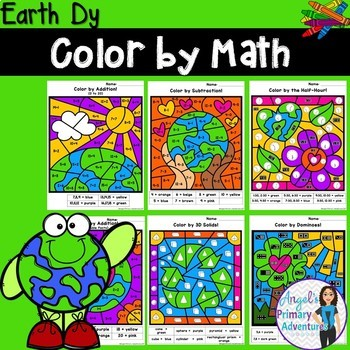 Earth Day Color by Code Math Activities