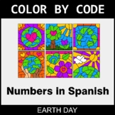 Earth Day Color by Code - Numbers in Spanish