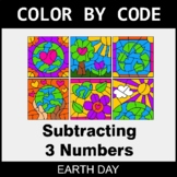 Earth Day Color by Code - Subtracting 3 Numbers