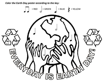 Earth Day Color-by-Note for Kindergarten