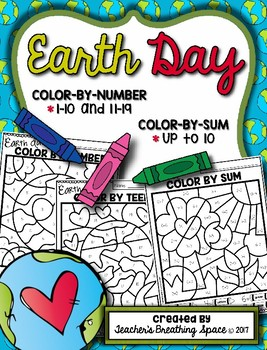 Earth Day Color-by-Number 1-10 & 11-19 and Color-by-Sum (u