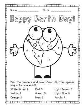 earth day color by number activities by the busy class tpt. Black Bedroom Furniture Sets. Home Design Ideas