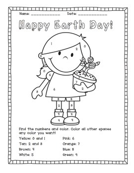 Earth Day: Color by Number Activities