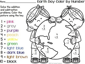 Earth day color by number addition subtraction within for Free printable earth day coloring pages and activities