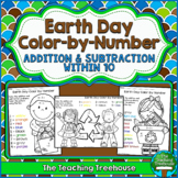 Earth Day Color by Number, Addition & Subtraction Within 10