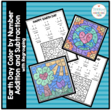 Earth Day Color by Number Addition and Subtraction with Regrouping