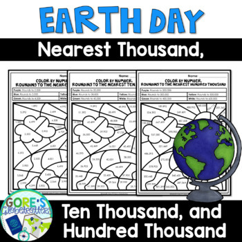 Earth Day Math Color by Number - Differentiated Rounding