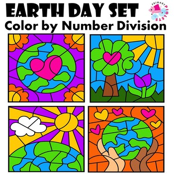 Earth Day Color by Number with Division Facts
