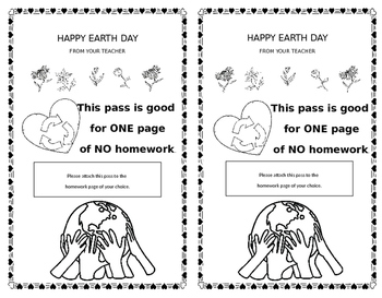 Earth Day Coloring Homework Pass