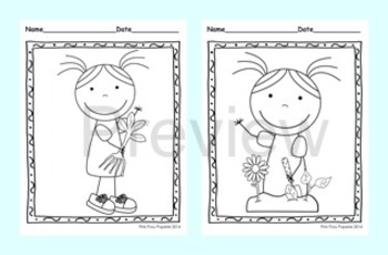 Earth Day Coloring Pages - 8 Different Designs - Black and White
