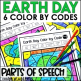 Earth Day Coloring Pages Parts of Speech Color by Number