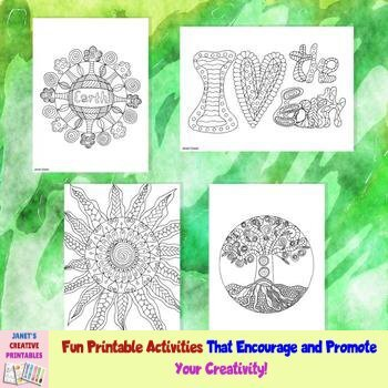 Earth Day Coloring Pages - Set of 4