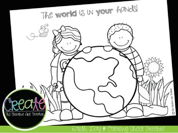 Earth Day Coloring Sheet FREEBIE | Digital Clipart