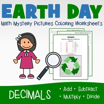 Earth Day Decimals Coloring Worksheets, Mystery Picture Activities