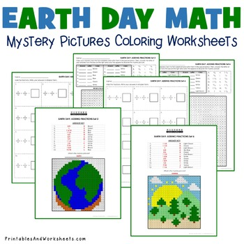 Earth Day Fraction Coloring Worksheets, Mystery Picture Activities
