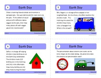 Earth Day Math Task Cards (3rd Grade Common Core)