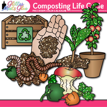 Earth Day Composting Life Cycle Clip Art {Recycling, Conservation in Science}