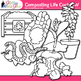 Earth Day Composting Life Cycle Clip Art | Recycling, Conservation Science B&W