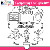 Earth Day Composting Life Cycle Clip Art B&W {Glitter Meets Glue}