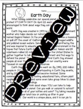 Earth Day Comprehension Practice