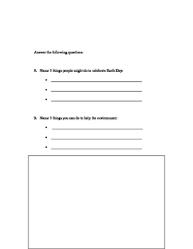 Earth Day Comprehension Worksheet
