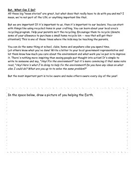 Earth Day Comprehension and Grammar