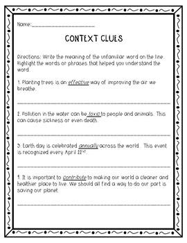 Earth Day Context Clues