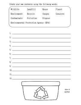 Earth Day Context Clues with Bonus worksheet
