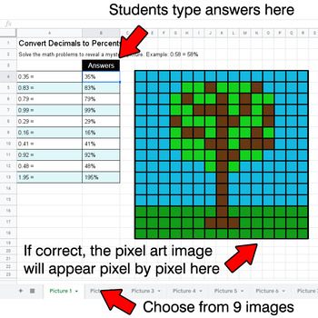 Earth Day - Convert Decimals to Percents - Google Sheets Pixel Art