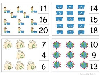 Earth Day Count & Clip 1-20 Task Cards