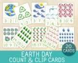 Earth Day Count & Clip Cards, Numbers 1-20, Math Game, Flashcards, Montessori