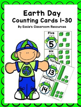 Earth Day Counting Cards 1-30 FREEBIE