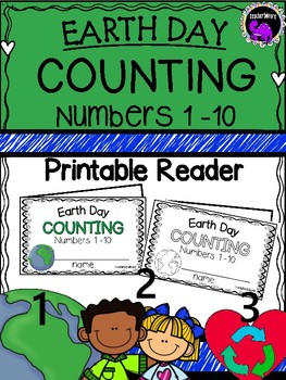 Earth Day Counting Printable Reader Numbers 1 to10