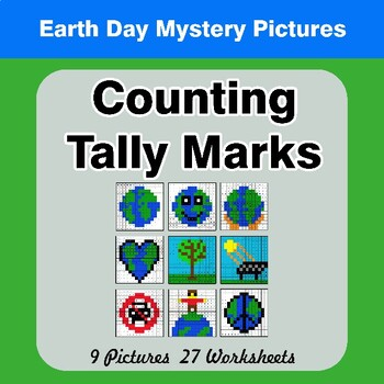 Earth Day: Counting Tally Marks - Math Mystery Pictures / Color By Number