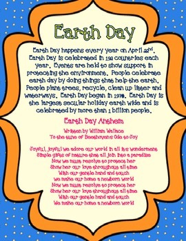 Earth Day: Creative Writing, Student Book or Class Book