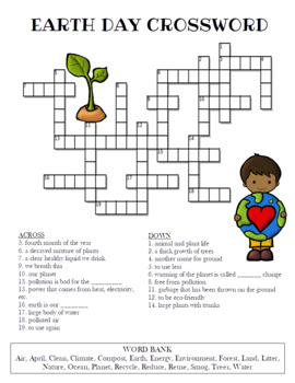 graphic relating to Earth Day Crossword Puzzle Printable called Globe Working day Crossword Puzzle (Shade and BW styles)